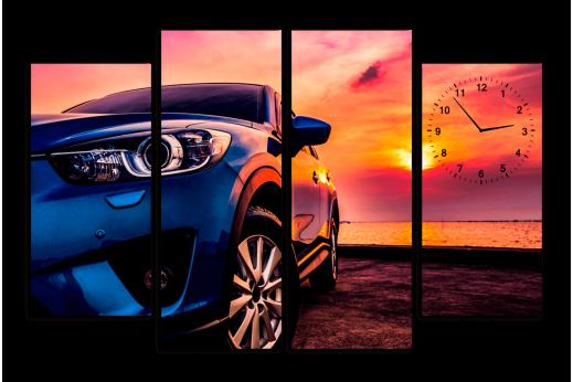 Модульная картина с часами Машина на закате